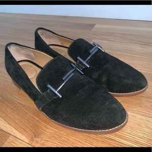 Franco Sarto Leather Suade Horsebit Loafers Black